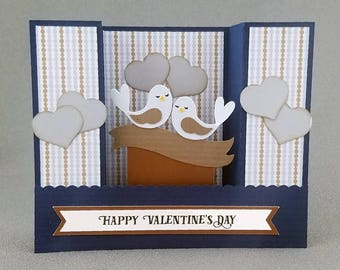 Handmade Blue Lovebirds Valentines Card
