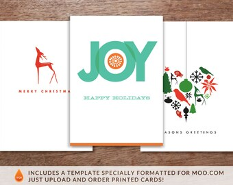 Printable Christmas Cards - 3 Pack - Big Joy, Red Deer and Heart of Christmas - 3 Christmas Card Printables - Christmas Card PDFs - 3 Pack