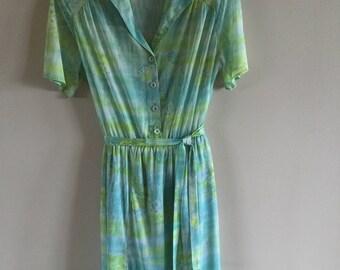 Vintage 80s Summer Dress Mint Green Floral Print Tea Party Dress Midi Dress Size M