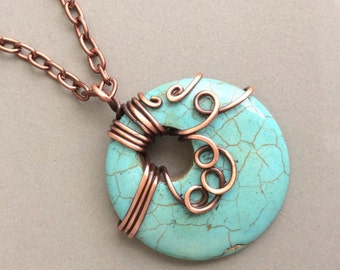 Turquoise Pendant Necklace, Turquoise Donut Pendant, Copper Jewelry, Wire Wrapped Pendant, Copper Necklace, Wire Wrapped Necklace