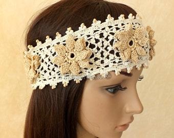 Handmade Crochet Irish Lace  Headband Dreadlock Head Wrap Boho of White Beige Wood Beaded Women Ivory Wedding Bridal Cotton Hair Snood