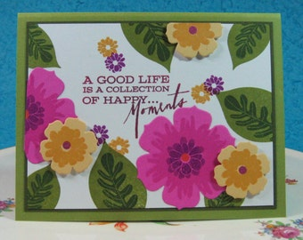 """Greeting Card, Floral, Cheerful, Birthday, """"A Good Life is a Collection of Happy Moments"""", Any Occasion, Blank Inside (#13)"""