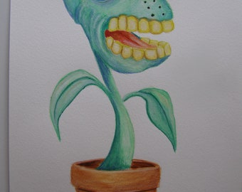 Original water color drawing/painting of a mutated carnivorous plant