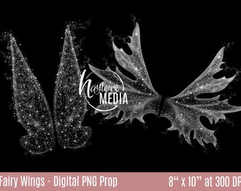 2 Transparent PNG Beautiful Child Fairytale Tinker Bell Fairy White Sparkle Wings Photo Overlay Prop for Photographers -  Instant Download