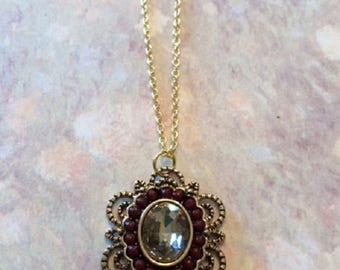 Victorian Jewelry - Victorian Necklace - Victorian Pendant - Victorian Pendent - Brown Necklace - Brown Jewelry - Victorian Beaded Necklace