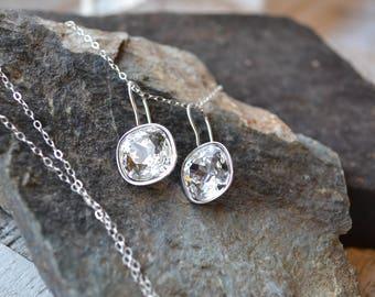 Swarovski Crystal Drop Earrings, Square Rhinestone Earrings, Silver Diamond Bridal Earrings, Wedding Jewelry Set for Bride, Bridesmaids Gift