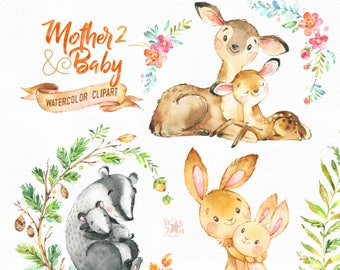 Mother & Baby 2. Watercolor animals clipart, deer, rabbit, brock, greeting, mothers day, invite, floral, wreath, card, raspberry, babyshower