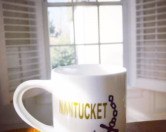 Nantucket coffee mug/anchor mug /custom nantucket mug