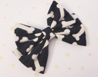 Kawaii Bone Hair Bow Clip - Fairy Kei Decora Pastel Goth Harajuku inspired