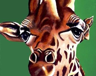 Kid's Room Green Giraffe Animal Art Print. Children's Room, Girl Boy Nursery Giraffe Art, Safari Zoo Animal, Painting Picture Print