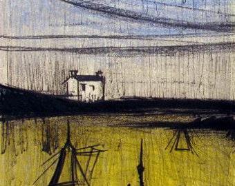 """Bernard Buffet """"Landscape 2"""" Original Lithograph printed 1968 -f"""