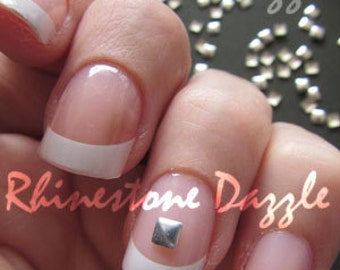 3mm silver square nail studs, nail art, diy nails, 3D nail design, silver squares stids, silver nail art, nail decoration