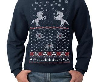 Ugly Christmas sweater -- Christmas Unicorn -- pullover sweatshirt -- s m l xl xxl xxxl skip n whistle