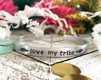 LOVE MY TRIBE--handstamped skinny silver cuff bracelet--strong woman--friend gift--mom jewelry--proud mom--feathers--daily reminder--mantra