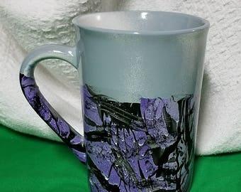 Purple Latte Mug/Purple Ceramic Mug/HandPainted Purple Coffee Mug/Purple Ceramic Mug/Black Purple Mug/Purple Latte Mug/16 oz Purple Mug