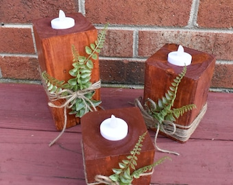 Candle Holders with Greenery