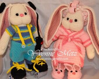 """Made to Order - 13"""" Adorable Handmade Crocheted Amigurumi Bunny Dolls"""