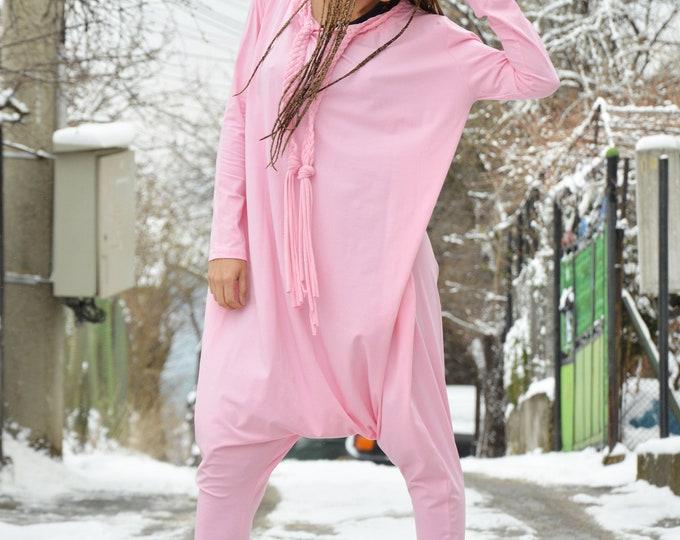 Pink Casual Loose Jumpsuit, Women Harem Pants, Extravagant Cotton Suit, Long Sleeves Jumpsuit, Onepiece Romper by SSDfashion