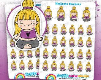 28 Cute Meditating/Meditate/Mindfulness/Yoga/Relax Girl Planner Stickers, Filofax, Erin Condren, Happy Planner,  Kawaii, Cute Sticker, UK