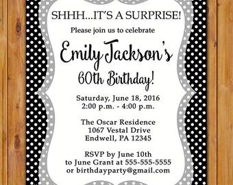 Surprise Black and White Birthday Party Invite Celebration Adult Milestone Teen Birthday Invitation Polka Dots 5x7 Digital JPG FIle (375)