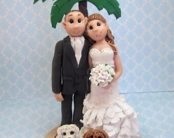 Custom Beach Themed Wedding Cake Topper,Custom wedding cake topper, personalized cake topper, Bride and groom cake topper