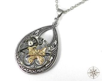 Steampunk Jewelry - Gold Butterfly on Silver Teardrop Necklace - Pocket Watch Time Flies Butterfly Mechanical Watch Movement Pendant