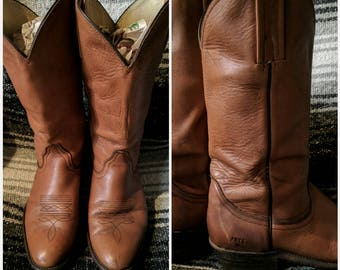 Vintage FRYE Boots Cowboy Boots 1970s 8.5 D Cognac Brown Leather Made in USA