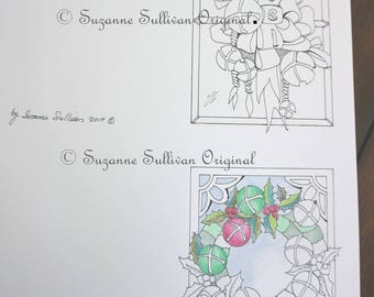 Holiday Note Cards to Color, Wreath Coloring Page, 2 Note Cards to Color, 286, Adult Coloring Page, DIY Holiday Cards, Coloring Pages, 1 PDF
