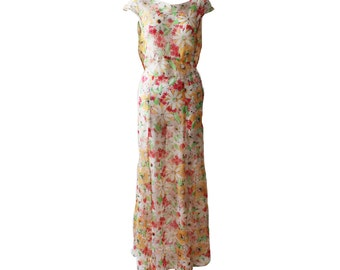 Vintage Delicate Floral Silk Multi Color Gown and Cape 1930s