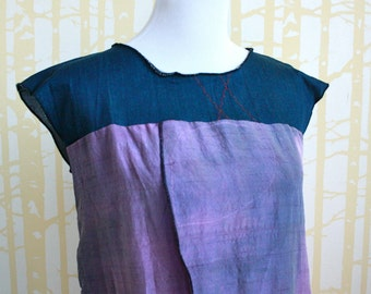 Tulip Blouse, size SMALL, hand dyed lavender silk, with blue stretch denim, one of a kind