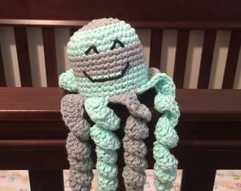 Crochet octopus preemie octopus nicu octopus stripes mint grey amigurumi stuffed animal toy baby shower gift infant