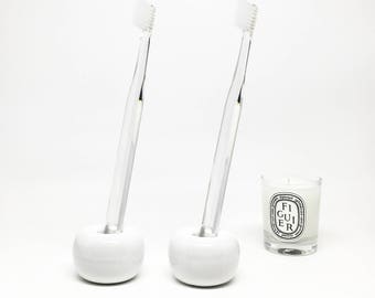 Ceramic toothbrush stand, toothbrush holder, minimalist bathroom, bathroom accessories, porcelain toothbrush stand