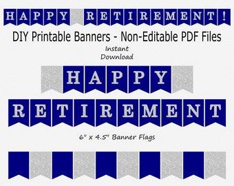 Happy Retirement Banner - Navy Blue & Silver Sparkle - PRINTABLE - INSTANT DOWNLOAD