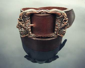 Reflection Skull Leather Belt Two Faces Bronze Buckle