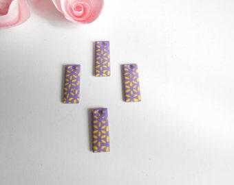 x 4 sequins purple yellow flower