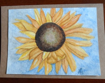 Sunflower Card Watercolor Sunflower Card Watercolors Sunflowers Greeting Cards Hand Painted Cards
