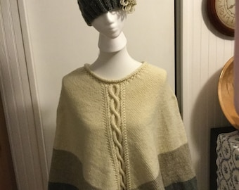 Multi Color Cable/Flower Poncho and Hat