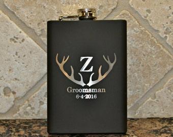 Personalized Deer Buck Stag Antler Flask,Flask, Wedding logo for the Groom, Groomsman, Best Man, Hunter or Lumberjack by Jackglass