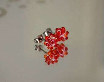 Murano glass Stud Earrings * sea urchins * glass Stud Earrings - red/orange/ivory - craft surgical steel - urchins glass