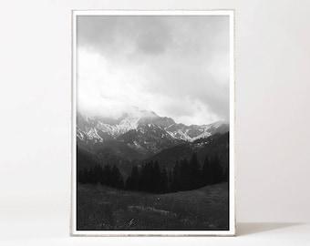 Minimalistic Mountain Art Printable Black and White Mountain Print Printable Mountain Prints Misty Landscape Photography Modern Nordic Print