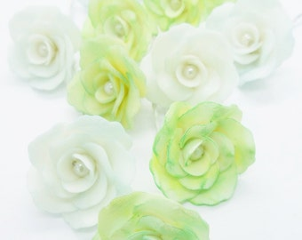 Miniature Polymer Clay Roses Handcrafted with Pearl bead, 20 pieces