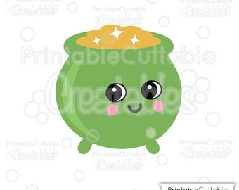 Cute Pot of Gold SVG File Clipart E361 - svg, dxf, png, for Cricut, Cameo Cutting Machines - Includes Limited Commercial Use!