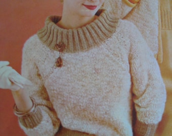 Knit Sweater Pattern - Vintage PDF Pattern, 1960's Ladies' Knit Sweater 424