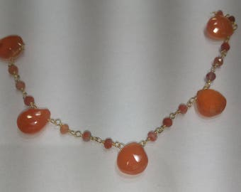 SGR055 one foot silver gold plated  carnelian drop   rosary chain
