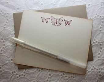 Scarlett Butterfly Stationary Set of 6 cards and envelopes