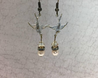 SPRING SALE White patina bird earrings Swarovski crystal pearl rhinestone