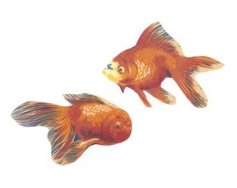 Iron on Fabric Appliqué set - Pet Goldfish Fish Orange Fancy DIY No Sew Patch