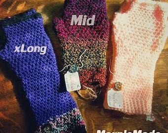 CUSTOM Solid COLOR The Original MarpleMade MID  Length : Handmade Crochet Fingerless Gloves Wrist Warmer