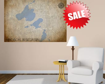 MADISON Wisconsin MAP Canvas Wall Decor Large Wall Decor Wall Tapestry  Bedroom Decor Living Room Decor
