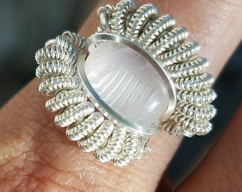 Healing Natural Rose Quartz Gemstone Sterling Silver Handmade Wire Wrapped Ring Size 7 by Jwadesign WP34